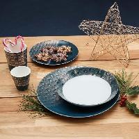 Service Petit Dejeuner ABS T1904311-PX set de 6 tasses a café en porcelaine forme V sans anse aved decal en or 9.6cl - Theme bleu artdeco