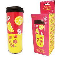 Service Petit Dejeuner Mug isotherme ZIGONIRIC - Rose et jaune