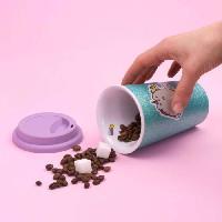 Service Petit Dejeuner THUMBS UP ! Pusheen - Tasse en céramique avec couvercle en silicone Unicorn Glitter.
