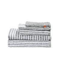 Serviette De Bain - Drap De Bain DONE Daily Shapes STRIPES 1 Serviette + 1 Serviette de toilette + 1 Drap de douche + 1 Tapis de Bain + 1 Gant - Argent et Blanc