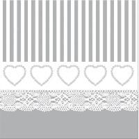Serviette De Table Jetable - En Papier - Intisse 20 serviettes Coeur dentelle - 40x40 cm - Gris