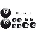 Set Adhesifs -ELEMENT BILLARD- Noir et Blanc - Car Deco Generique