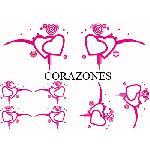 Set Adhesifs -ELEMENT CORAZONES- Rose - Car Deco Generique