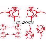 Set Adhesifs -ELEMENT CORAZONES- Rouge - Car Deco Generique