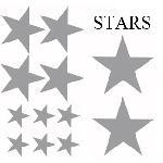 Set Adhesifs -ELEMENT STARS- Gris - Car Deco - ADNAuto