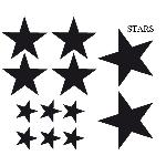 Set Adhesifs -ELEMENT STARS- Noir - Car Deco