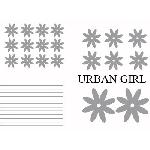 Set Adhesifs -ELEMENT URBAN GIRL- Gris - PROMO ADN - Car Deco Generique