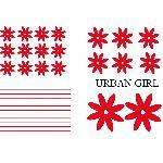Set Adhesifs -ELEMENT URBAN GIRL- Rouge - PROMO ADN - Car Deco Generique