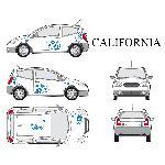 Set complet Adhesifs -CALIFORNIA- Bleu - Taille S - Car Deco - ADNAuto