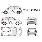 Set complet Adhesifs -CALIFORNIA- Noir - Taille S - Car Deco