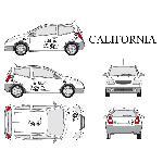 Set complet Adhesifs -CALIFORNIA- Noir - Taille S - Car Deco Generique