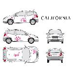 Set complet Adhesifs -CALIFORNIA- Rose - Taille S - Car Deco