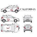Set complet Adhesifs -CALIFORNIA- Rouge - Taille M - Car Deco Generique