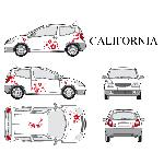 Set complet Adhesifs -CALIFORNIA- Rouge - Taille S - Car Deco - ADNAuto