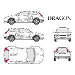 Set complet Adhesifs -DRAGON- Argent - Taille M - Car Deco