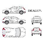 Set complet Adhesifs -DRAGON- Argent - Taille M - Car Deco Generique
