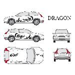 Set complet Adhesifs -DRAGON- Noir - Taille S - PROMO ADN - Car Deco