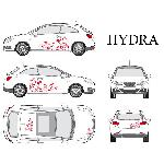Set complet Adhesifs -HYDRA- Rouge - Taille M - Car Deco