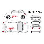 Set complet Adhesifs -IKEBANA- Rouge - Taille M - PROMO ADN - Car Deco