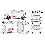 Set complet Adhesifs -IKEBANA- Rouge - Taille M - PROMO ADN - Car Deco Generique