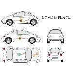 Set complet Adhesifs -LOVE AND PEACE- Full Color - Taille M - Car Deco