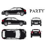 Set complet Adhesifs -PARTY- Blanc - Taille M - PROMO ADN - Car Deco