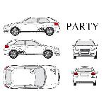 Set complet Adhesifs -PARTY- Noir - Taille M - PROMO ADN - Car Deco - ADNAuto
