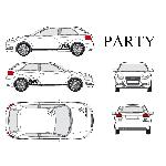 Set complet Adhesifs -PARTY- Noir - Taille S - PROMO ADN - Car Deco - ADNAuto