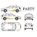 Set complet Adhesifs -PARTY- Orange - Taille M - PROMO ADN - Car Deco Generique