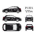Set complet Adhesifs -PURA VIDA- Blanc - Taille M - Car Deco - ADNAuto