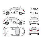 Set complet Adhesifs -PURA VIDA- Noir - Taille M - Car Deco