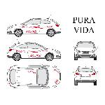 Set complet Adhesifs -PURA VIDA- Rouge - Taille S - Car Deco