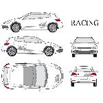 Set complet Adhesifs -RACING- Argent - Taille M - Car Deco
