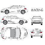 Set complet Adhesifs -RACING- Argent - Taille M - Car Deco Generique