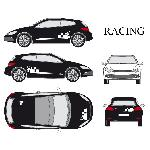 Set complet Adhesifs -RACING- Blanc - Taille M - Car Deco