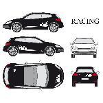 Set complet Adhesifs -RACING- Blanc - Taille M - Car Deco Generique