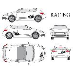Set complet Adhesifs -RACING- Noir - Taille S - Car Deco