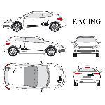 Set complet Adhesifs -RACING- Noir - Taille S - Car Deco Generique