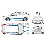 Set complet Adhesifs -RS- Bleu - Taille M - Car Deco