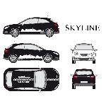 Set complet Adhesifs -SKYLINE- Blanc - Taille M - PROMO ADN - Car Deco