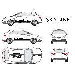 Set complet Adhesifs -SKYLINE- Noir - Taille M - PROMO ADN - Car Deco