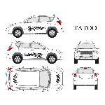 Set complet Adhesifs -TATOO- Noir - Taille M - PROMO ADN - Car Deco - ADNAuto