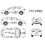 Set complet Adhesifs -TECHNO- Noir - Taille M - PROMO ADN - Car Deco