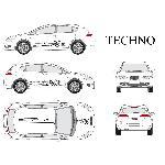 Set complet Adhesifs -TECHNO- Noir - Taille S - PROMO ADN - Car Deco Generique
