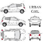 Set complet Adhesifs -URBAN GIRL- Argent - Taille M - Car Deco - ADNAuto