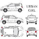 Set complet Adhesifs -URBAN GIRL- Argent - Taille M - Car Deco Generique