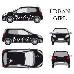 Set complet Adhesifs -URBAN GIRL- Blanc - Taille M - Car Deco Generique