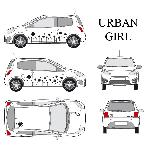 Set complet Adhesifs -URBAN GIRL- Noir - Taille S - Car Deco