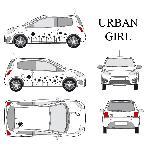 Set complet Adhesifs -URBAN GIRL- Noir - Taille S - Car Deco - ADNAuto