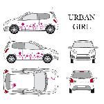 Set complet Adhesifs -URBAN GIRL- Rose - Taille S - Car Deco